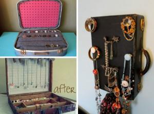 Creatief met koffers sieradenkastje