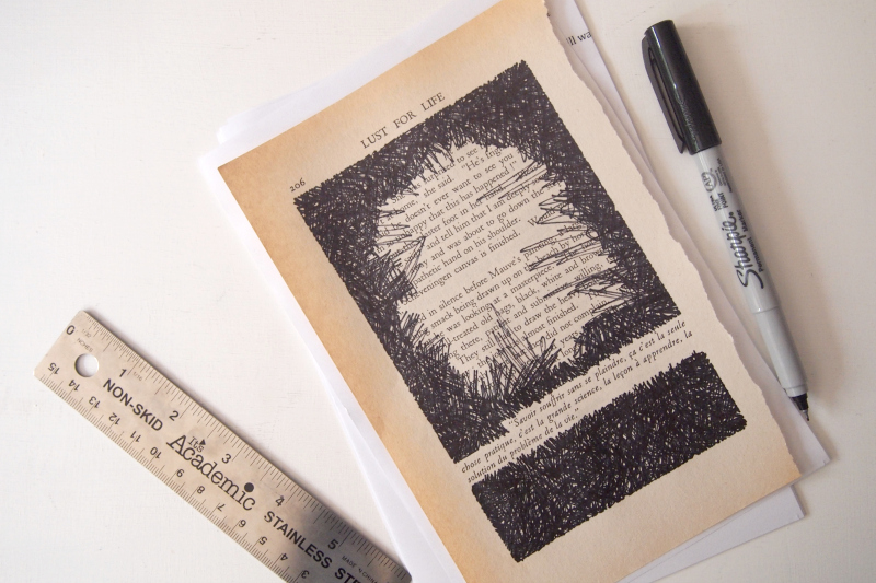 Make-black-lines-back-and-forth-to-complete-your-Book-Page-Wall-Art-Installation