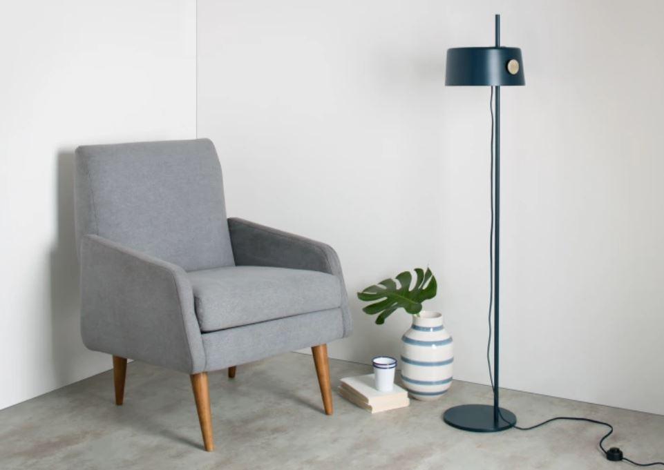 Zoom staande lamp grijsblauw
