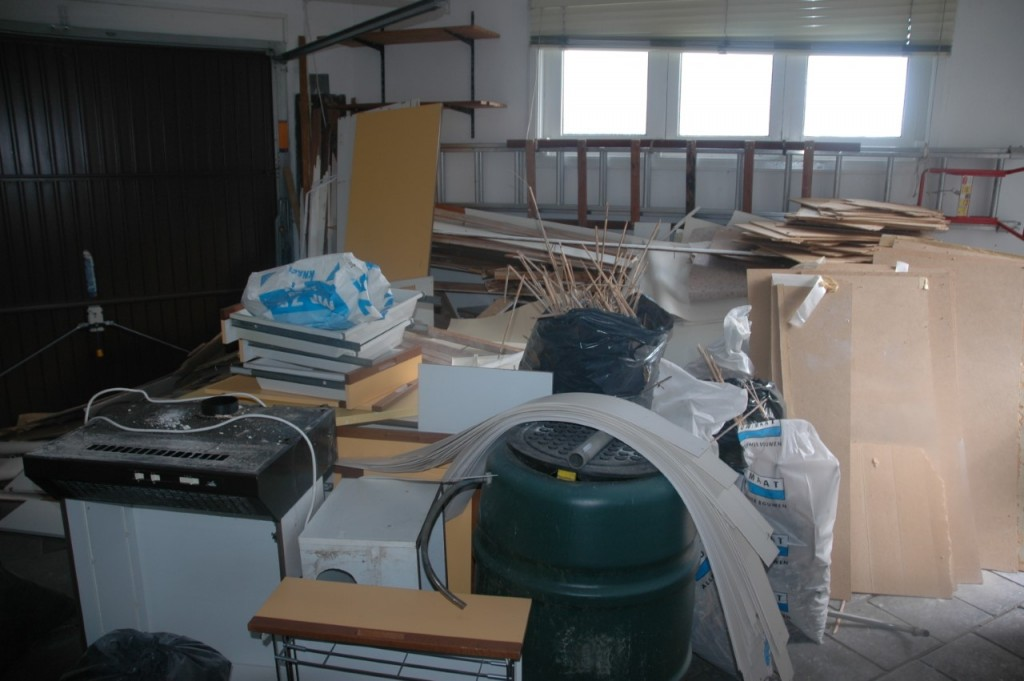 Garage - speelkamer tijdens de verbouwing