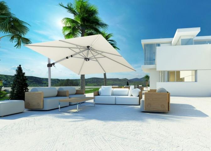 Bijgeknipt - witte vila en vierkante parasol